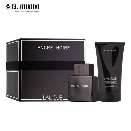 ست هدیه عطر ادکلن مردانه لالیک مشکی چوبی انکر نویر ادوتویلت ۱۰۰ میل  Encre Noire Gift Set For Men
