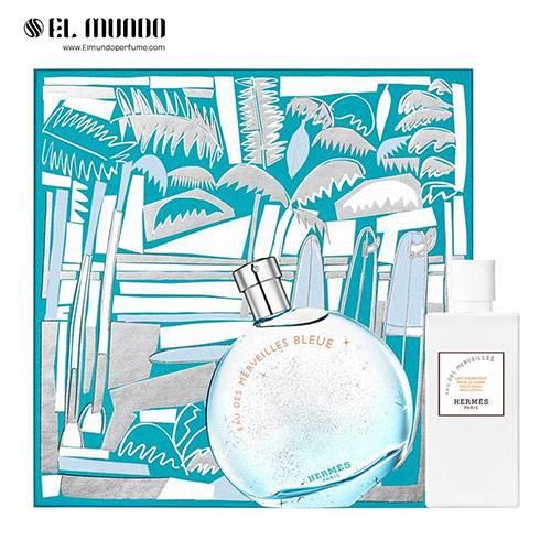 ست عطر و ادکلن هرمس او دس مرویلس بلو ادوتویلت ۱۰۰ میل Gift Set Hermes Eau des Merveilles Bleue
